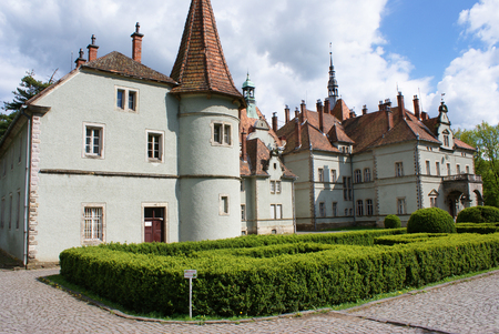 Hunting castle of Count Schonborn in Carpaty  in the past - Beregvar  Village  Zakarpattja Region, Ukraine   Built in 1890  Five shots stitch image