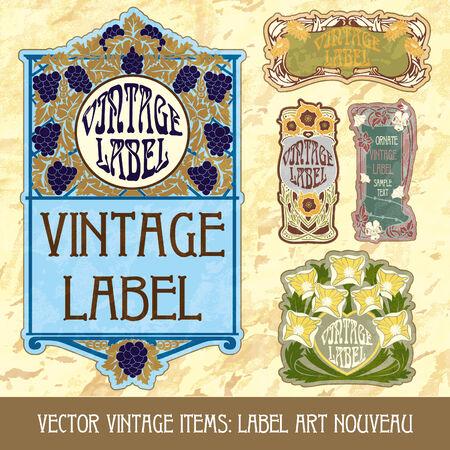 wine book: vintage items  label art nouveau Illustration