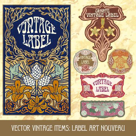 art product: vintage items  label art nouveau Illustration