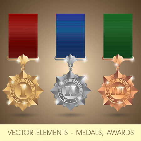 rank: elements - medals, awards Illustration