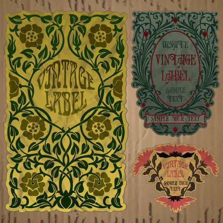 art border: vintage items  label art nouveau Illustration