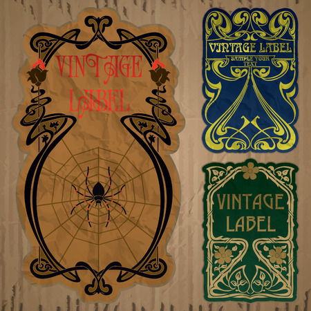 paper art: vintage items  label art nouveau Illustration