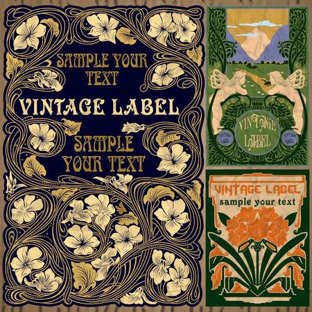 vintage items  label art nouveau  イラスト・ベクター素材