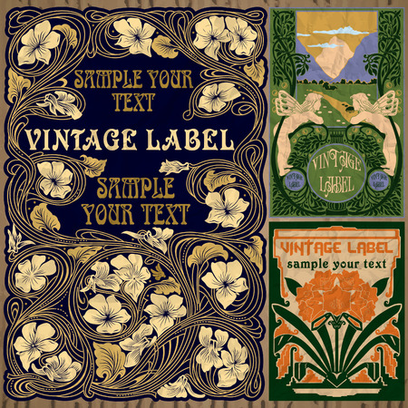 vintage items  label art nouveau 矢量图像