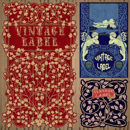 art nouveau frame: vintage items  label art nouveau Illustration