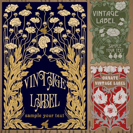 vintage items  label art nouveau 일러스트