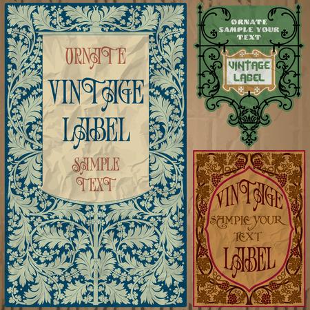 art nouveau: vintage items  label art nouveau Illustration