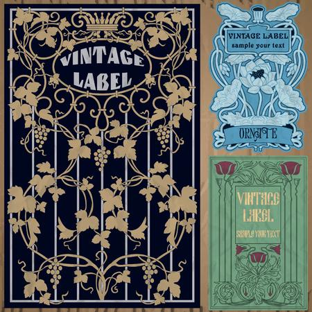 antique art: vintage items  label art nouveau Illustration