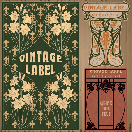 vintage items  label art nouveau Vectores