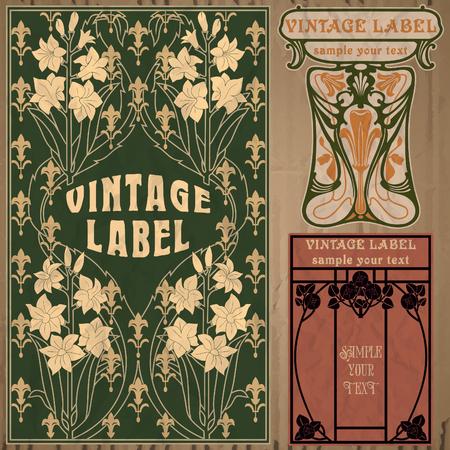 vintage items  label art nouveau Vettoriali