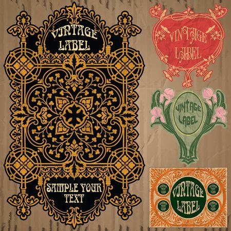 art frame: vintage items  label art nouveau Illustration