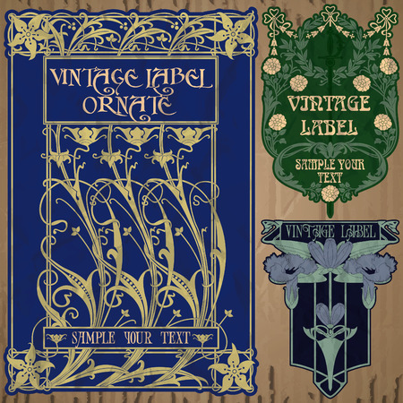 nouveau: vintage items  label art nouveau Illustration