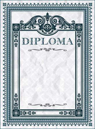 diploma: Vintage frame, certificate or diploma template Illustration