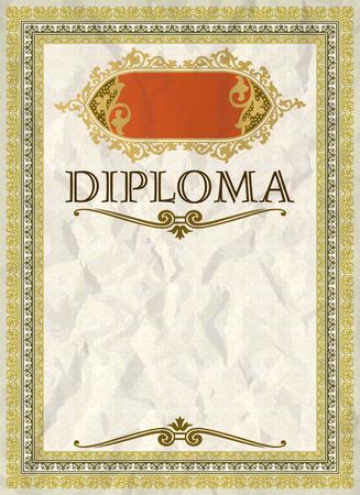 diploma: Plantilla de marco, certificado o diploma Vintage Vectores