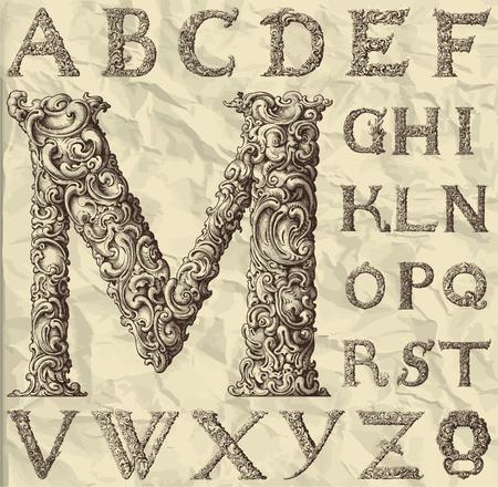 ornamental: ornamental letter alphabet