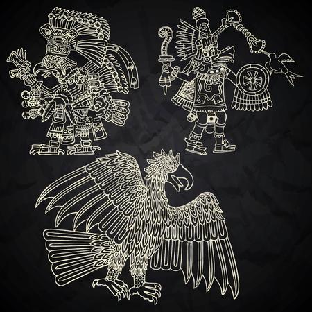 Mexico en Peru inheemse kunst in zwart-wit Stock Illustratie