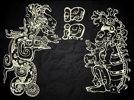 黒と白でメキシコとペルーのネイティブ アート