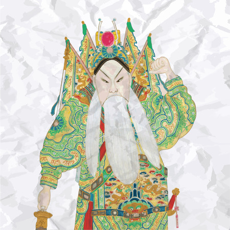 Colored vintage chinese opera figures