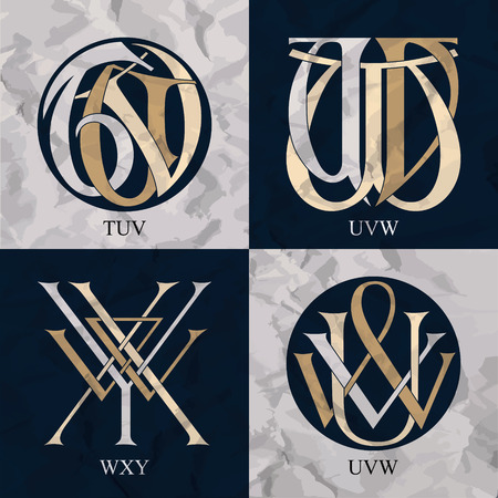 initials: Vintage Monograms - 4 sets - monograms series
