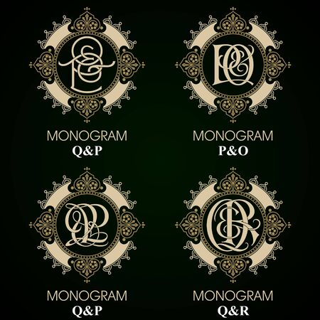 special individual: Vintage Monograms - 4 sets - monograms series