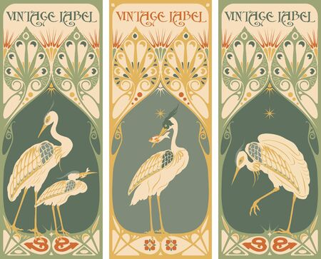 clock radio: Vintage labels: fish and poultry Illustration