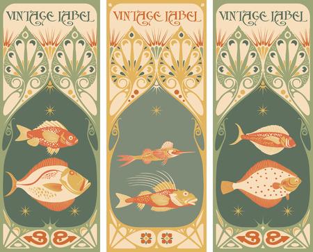 vintage patterns: Vintage labels: fish vector Illustration