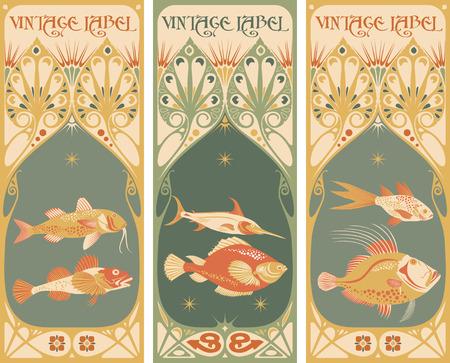 ビンテージ ラベル: 魚のベクトル