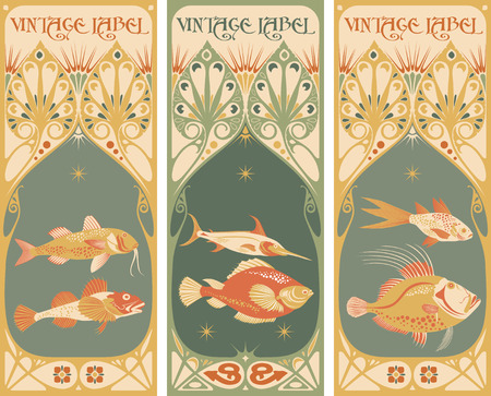 Vintage labels: fish vector Ilustrace