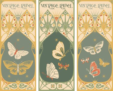 butterfly vector: Vintage labels: butterfly vector