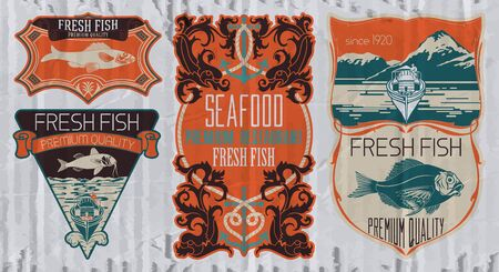 sturgeon: Vintage set of fish - vector. badge or label design template.