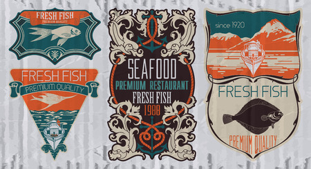 Vintage set of fish - vector. badge or label design template.