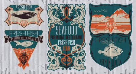 marline: Vintage set of fish - vector. badge or label design template.