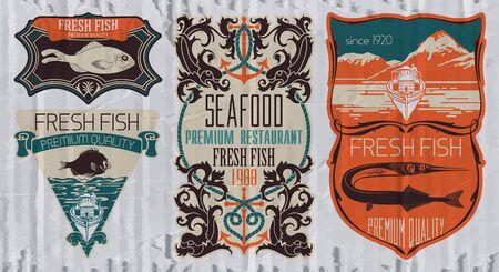marline: Vintage set of fish - vector. badge or label design template.