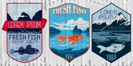 Vintage set of fish - vector. badge or label design template.