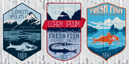 sportfishing: Vintage set of fish - vector. badge or label design template.