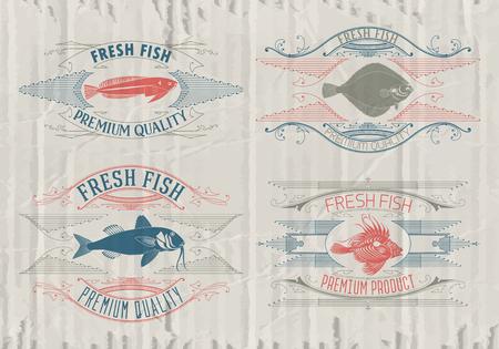 fresh fish: Vintage set of fish - vector. badge or label design template.