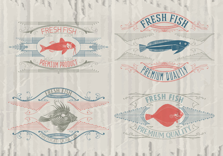 label design: Vintage set of fish - vector. badge or label design template.