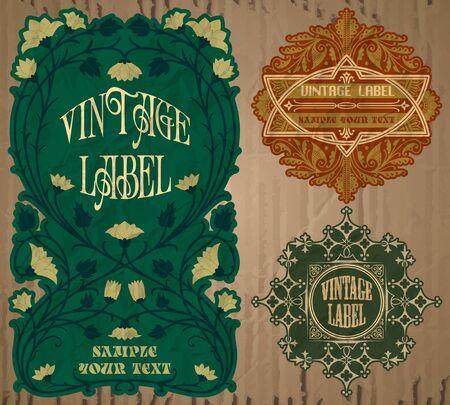 Vector Vintage Elemente: Art Nouveau label Vektorgrafik
