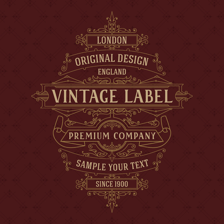 royal logo: Old vintage card with floral ornament - vector