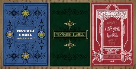 vector vintage items: label art nouveau Vektoros illusztráció
