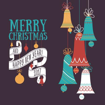 year greetings: Vector Christmas greeting card Illustration