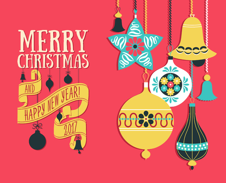 wineglass: Vector Christmas greeting card Illustration