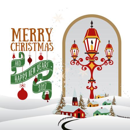 snow landscape: Vector Christmas greeting card Illustration
