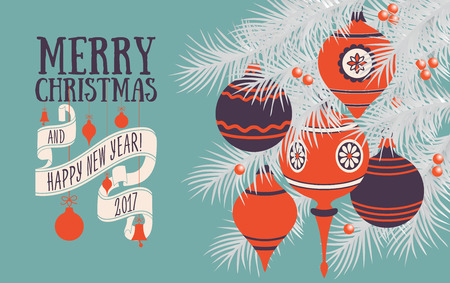 Vector Christmas greeting card Çizim