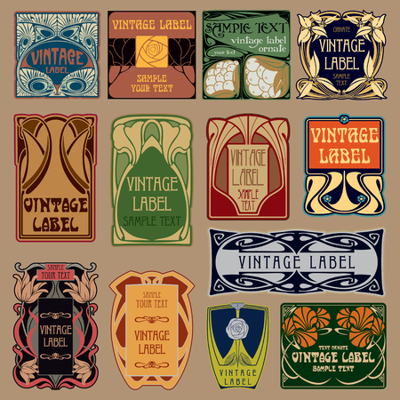 vector vintage items: label art nouveau Vector Illustration