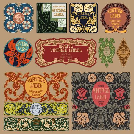 añada elementos de vectores: art nouveau de etiqueta