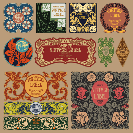classical: vector vintage items: label art nouveau