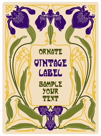 wine book: vector vintage items: label art nouveau