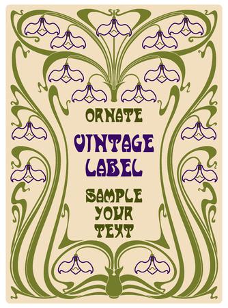 vintage art: vector vintage items: label art nouveau