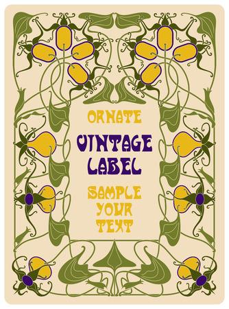 art flower: vector vintage items: label art nouveau